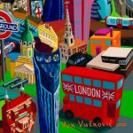 London, painting by artist Vuk Vuckovic, 100 x 140 cm, oil on canvas, 2017, serial Cities, detail (2)