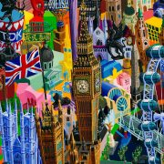 London, painting by artist Vuk Vuckovic, 100 x 140 cm, oil on canvas, 2017, serial Cities, detail (3)