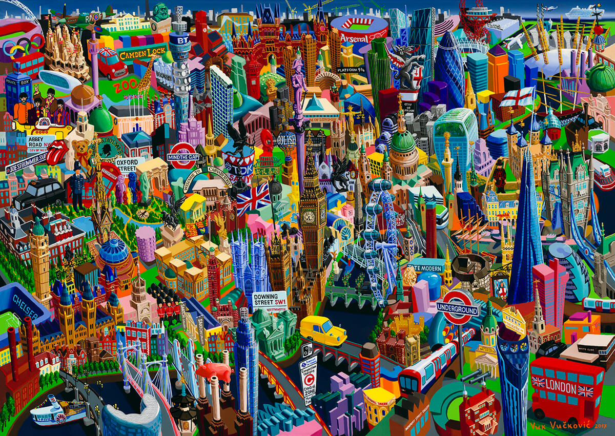 London, painting by artist Vuk Vuckovic, 100 x 140 cm, oil on canvas, 2017, serial Cities