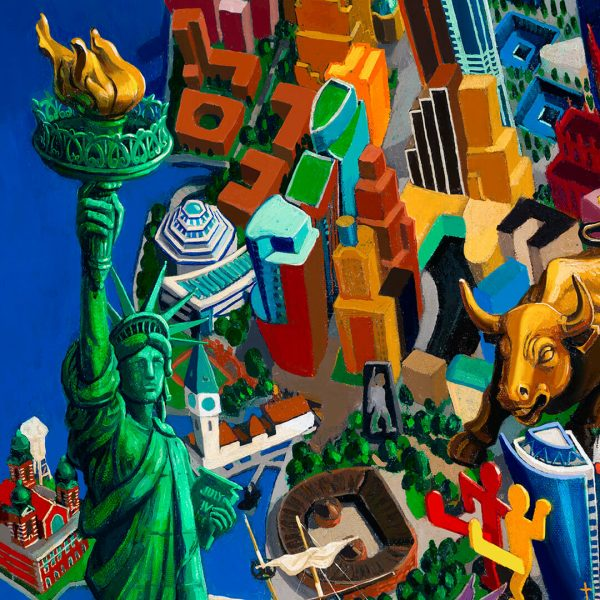 New York City, detail, oil on canvas by Vuk Vučković Wolf 2015 (2)