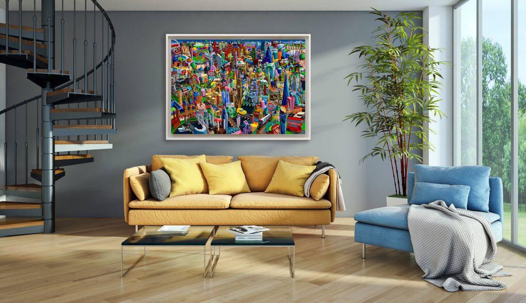 London XL print on canvas framed on the wall